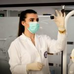 This image is a health physicist studying a radiation sample.